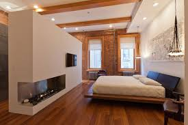 New York City Bedroom Furniture Bedroom Contemporary Fireplace Loft In Noho New York City