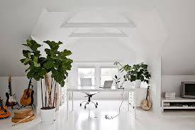 white office design. Gorgeous Attic Home Office In White With Indoor Plants And Plenty Of  Freshness [Design: Design E