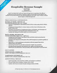 hospitality front desk resume sample