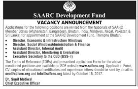 Jobs In Saarc Development Fund Secretariat 21 Sep 2017