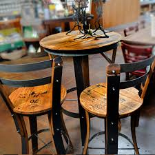 oak wine barrels. Unique Dining Chair Design With Oak Wine Barrels High Top Bistro Table Set, Two Seats