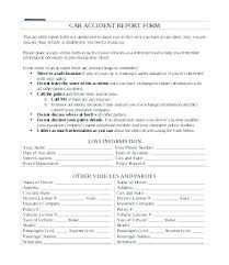 Motor Vehicle Accident Report Template