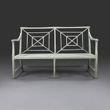 a mid 19th century painted garden bench