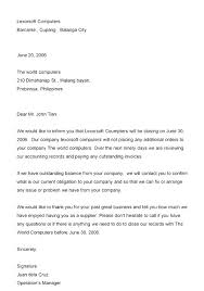 How Formal Announcement Letter Example Business Closure Format Loan