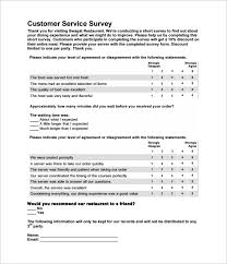 Customer Service Survey Template Free Sample Restaurant Survey Template 8 Free Documents In Word Pdf
