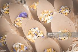 paper cones wedding. flower petal confetti for a wedding in brown paper cones : stock photo s