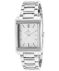 bulova men s diamond stainless steel white textured dial in gallery