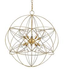 gold and silver orb geometric chandelier