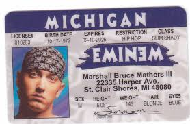 Eminem Shady Rapper Ebay Id Mathers Marshall Mnm Drivers License Slim