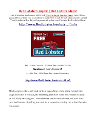 Red Lobster Coupons And Red Lobster Menu Recommendations