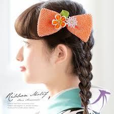 髪飾り 橙色 オレンジ 梅 剣菊 花 リボン 絞り つまみ細工 コーム 髪留め