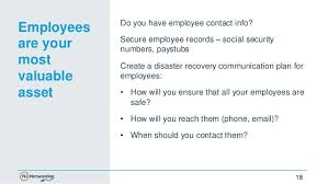 employee contact info 5 keys to disaster recovery planning