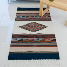 hand woven multicolored geometric wool area rug from mexico antique white diamond