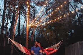 How To Hang String Lights In Backyard Without Trees Inspiration A Canopy Of String Lights In Our Backyard Gray House Studio