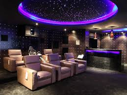 small media room ideas. Fascinating Desaign Purple Lighting Media Room Ideas With Glossy Wall Facing Calm Sofa Small
