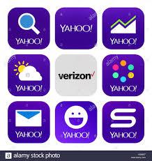 yahoo finance icon. Modren Finance Kiev Ukraine  October 18 2016 Yahoo And Verizon Communications Icons  Printed On Intended Finance Icon T