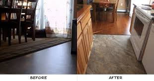 greg corrow of ellsworth me upgraded his contractor installed vinyl with our tuscan amber in his kitchen our vinyl paired with the bamboo flooring in
