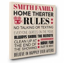 personalized family rules theater cinema wall art canvas decor within family rules wall art