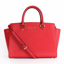 michael kors selma large satchel saffiano leather 30s3glms7l red