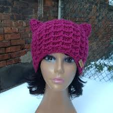 Pussy cat hat crochet cat hat hot pink cat hat winter hat hot.