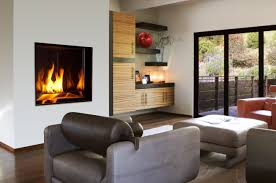 Cool Gas Fireplace For Home Ideas: Modern Gas Fireplace With Ottoman And  Sofa Ideas In