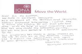 Thank You Letter For Scholarships Adorable Scholarships And Grants Support Iona Iona College