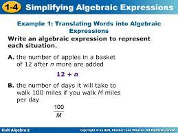 holt algebra simplifying algebraic expressions 1 4