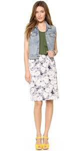 American vintage Waco Print Knee Length Skirt Nude Flower Lyst