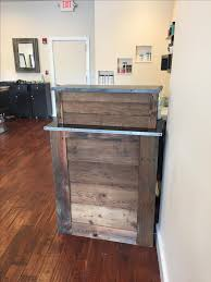 custom made small barn wood salon reception desk