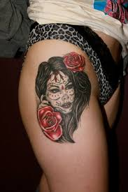 Dia De Los Muertos Girl Tattoo On Right Leg Tattoos Book 65000