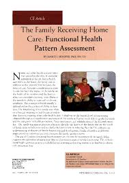 Gordon S Functional Health Patterns Chart Pdf The Family Receiving Home Care Functional Health