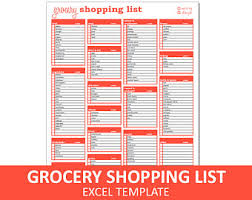 grocery checklist template shopping list etsy