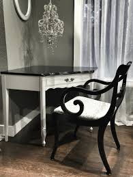 french provincial corner desk refinished updated in a classic black white