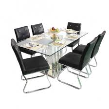 dining table with six chairs. crystal dining table with six chairs - 150 cm legth(5ft)in metal \u0026