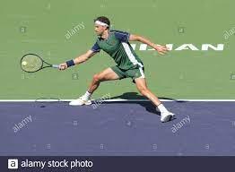 Grigor Dimitrov (BUL) besiegte Hubert Hurkacz (POL) 3-6, 6-4, 7-6 (7-2),  bei den BNP Paribas Open, die am 14,2021. Oktober im Indian Wells Tennis  Garden in Indian Wells, Kalifornien, gespielt wird: ©Karla