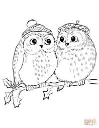 Owls Coloring Pages Free Owl Color Page Of New Christmas