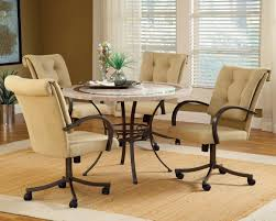 casual dining chairs with casters:  upholstered dining chairs with arms and casters pictures