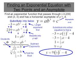 3 finding an exponential equation with two points and an asymptote find an exponential function that p