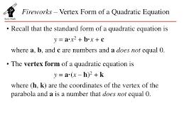 ppt fireworks vertex form of a