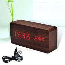 creative led wooden alarm clock with temperature dispaly big number table clock coffee red