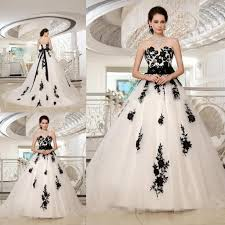 ball gowns tulle white and black wedding dress appliques corset