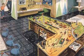 """e train tca toy trains train collectors association lionel s 1957 dream layout was designed to be built on two 5 x 9 plywood panels arranged in an """"l"""" shape as a piece of recreation room furniture"""