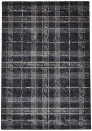 dark grey tartan checked rug 100 polypropylene check design mat home décor