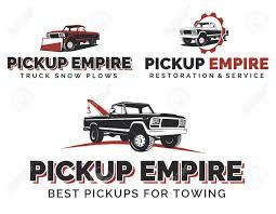 Set Of Retro Pickup Trucks , Emblems And Icons. Car Service Design ...