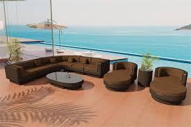 nouveau java brown wicker patio furniture sofa set 10r earth brown cushion