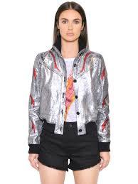 just cavalli led laminated leather jacket silver red otyxrg2 women clothing just cavalli jacket