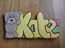 personalised childrens baby wooden door plaque cute teddy bear design