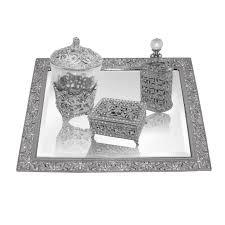 ncvset1 glamorously elegant white gold sterling silver tone victorian vanity bevel set 4