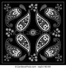 rug clipart black and white black and white bandana print with paisley square pattern design for