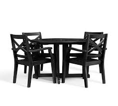 hampstead painted round drop leaf dining table chair set black pottery barn